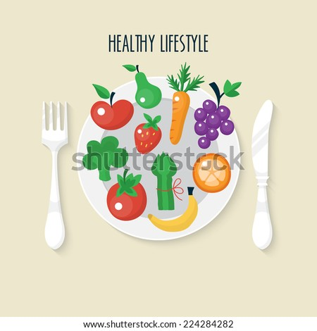 Vegetables and fruits flat icons on plate. Healthy lifestyle concept. - stock vector