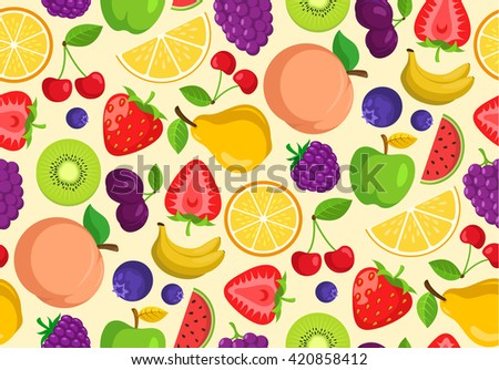 Vegetables and fruits. Seamless vector pattern. Bright summer seasonal background.