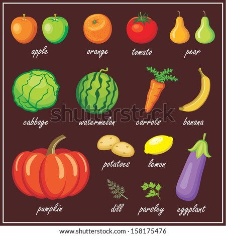 Vegetables and fruits. vector - stock vector