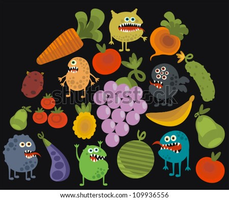 Vegetables and fruits with microbes Vector illustration. - stock vector