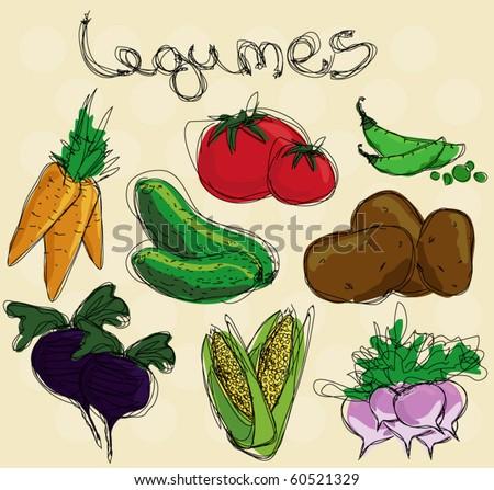 vegetables artistic vector illustration - stock vector