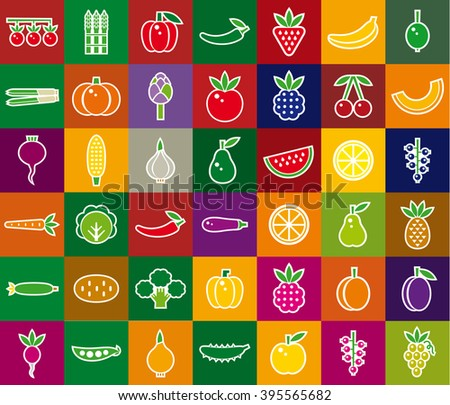 Vegetables, berries and fruits set. Color vector icon.