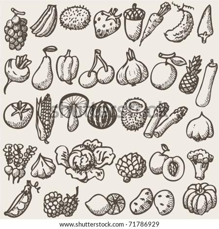 vegetables - doodles - stock vector