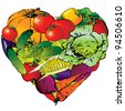 Vegetables frame in the shape of heart. Healthy food. Vector art-illustration on a white background. - stock vector