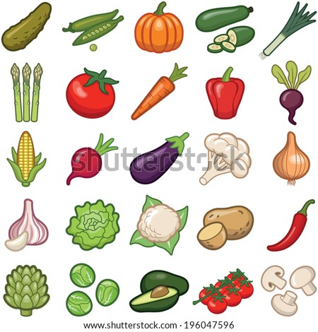 Vegetables icon collection - vector color illustration - stock vector