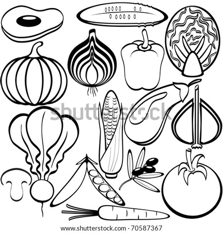 Vegetables icons - stock vector