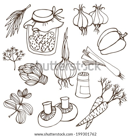 Vegetables illustration.Vector illustration of food collection in black and white  - stock vector