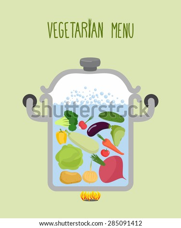 Vegetables in a saucepan. Logo for  vegetarian menu. Useful and healthy food. Boiled beets and squash. Cooking vegetables in saucepan. A set of useful vegetables: onions and pepper. Cooking soup - stock vector