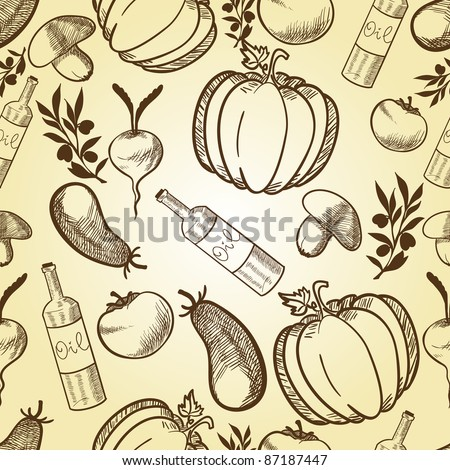 Vegetables in retro style seamless pattern. Vector illustration - stock vector