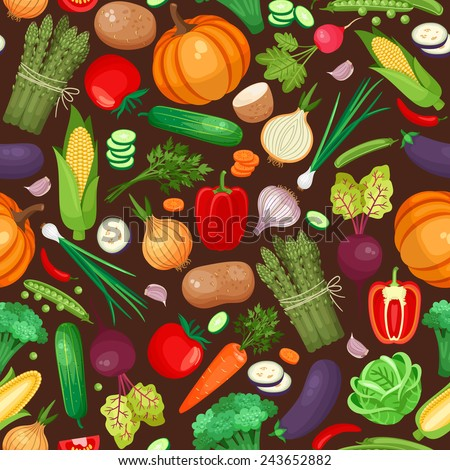 Vegetables ingredients seamless pattern. Pumpkin, beet, potatoes and peppers. Vector illustration - stock vector