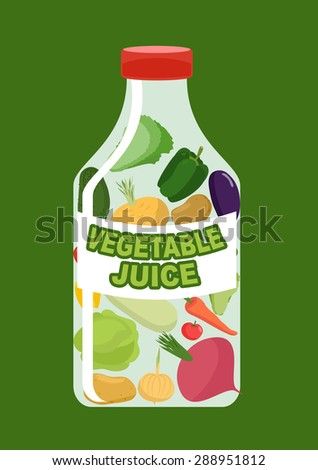 Vegetables juice. Juice from fresh vegetables. Carrot and cucumber, turnips and Aubergine in a transparent bottle. Vitamin drink for healthy eating. Vector illustration. - stock vector