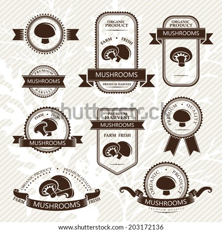 Vegetables labels collection. Mushrooms - stock vector