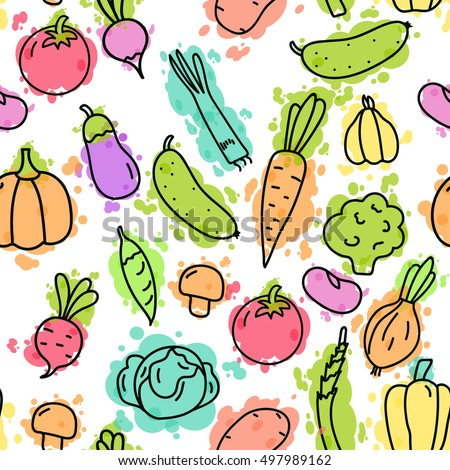 Vegetables on color pseudo watercolor spots. Seamless pattern. Illustration of vegetables with black lines on a white background. Concept background for kitchen theme.