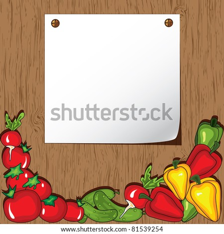 Vegetables on the wooden background.  Place for your text - stock vector