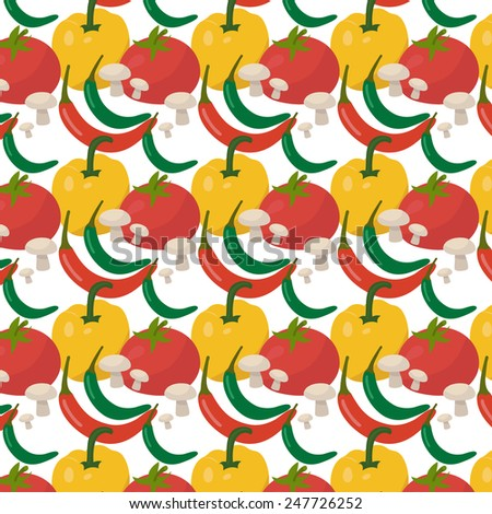 Vegetables - red tomato, yellow capsicum or sweet pepper, red and green chili peppers, mushrooms - on yellow green vegetables seamless background - stock vector