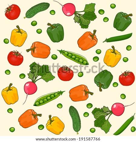 Vegetables seamless wallpaper vector pattern, vegetarian food - stock vector