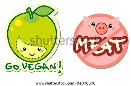 vegetarian characters - go vegan and meat free signs - stock vector