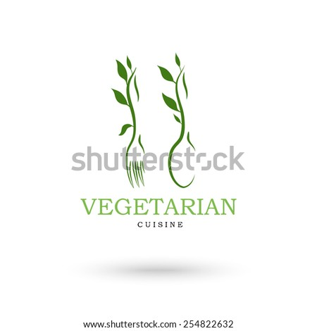 Vegetarian cuisine icons. Vector illustration - stock vector
