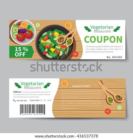 Vegetarian Food Coupon Discount Template Flat Vector – Lunch Voucher Template