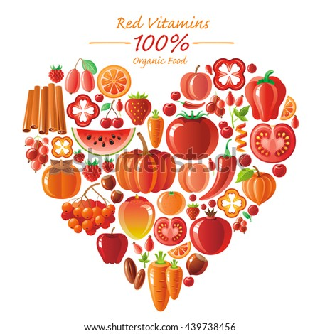 Vegetarian food icon set with organic fruits and vegetables on white background. Red and orange icons collection. Tomato cion, pumpkin, chili pepper icon, apple fruit, watermelon, mango fruit, berries - stock vector