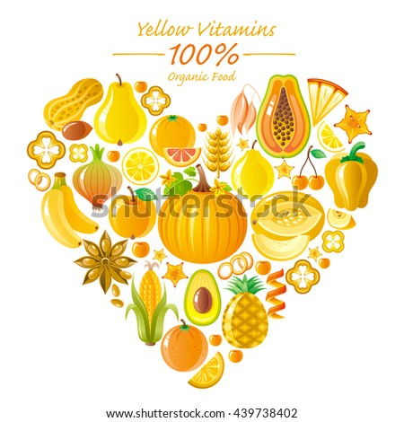 Vegetarian food icon set with organic fruits and vegetables on white background.  Yellow and orange icons collection. Pumpkin, banana fruit, pineapple icon, melon, lemon fruit, corn vegetable - stock vector