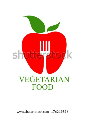 Vegetarian Food icon with a symbolic healthy ripe red apple with a fresh green leaf logo superimposed by a fork with text below - stock vector
