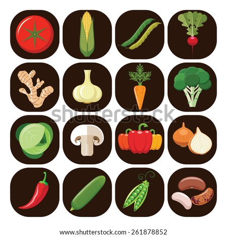 Vegetarian food icons. Collection of flat design icons presenting different types of vegetables isolated on brown background. Vector illustration. - stock vector