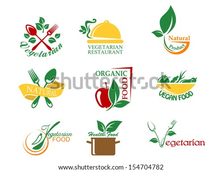 Vegetarian food symbols with fruits and vegetables for design or idea of logo. Jpeg version also available in gallery - stock vector