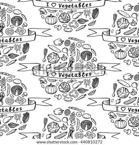 Vegetarian hand drawn seamless pattern. Vintage vector illustration of doodle vegetables