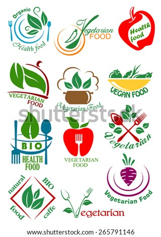 Vegetarian health food design elements including abstract vegan dishes with vegetables, fruits and herbs suitable for healthy nutrition concept design - stock vector