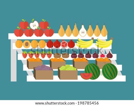 Vegetarian market, fresh farm organic food. Wholesome fruits. Outdoor stall. Flat design vector illustration. - stock vector