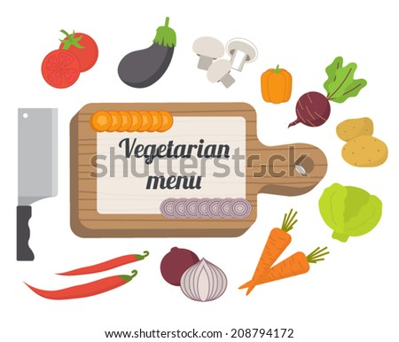 Vegetarian menu, culinary template with food icons and kitchen elements. Flat design vector - stock vector