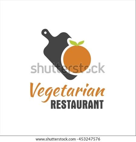 Vegetarian restaurant logo with kitchen cutting board and orange - stock vector