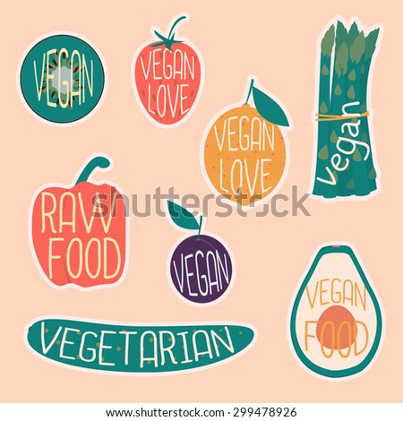 Vegetarian sticker set. Raw vegetables and fruits. Healthy nutrition. Cartoon design.  - stock vector