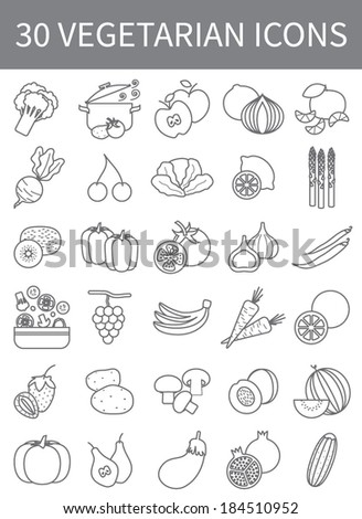 vegetarian thin line icons, vector set - stock vector