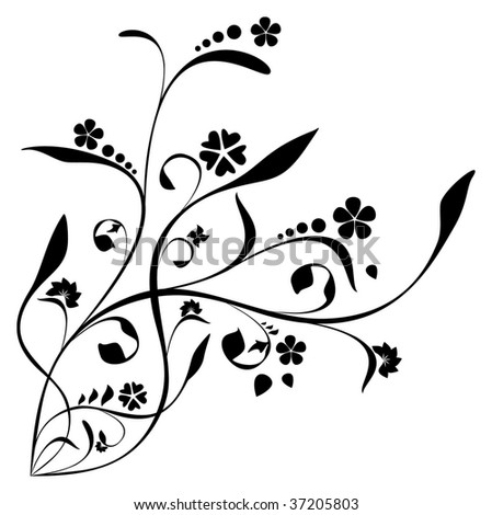 Vegetative element on a white background - stock vector