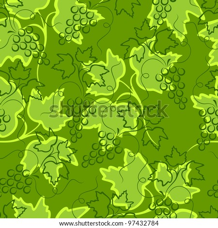Vegetative seamless background. Bunches of grapes on a background of green leaves. - stock vector