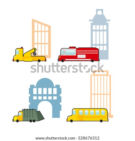 Vehicle and industrial buildings. Fire truck and tow truck. School bus and school. Set of childrens toy car. - stock vector
