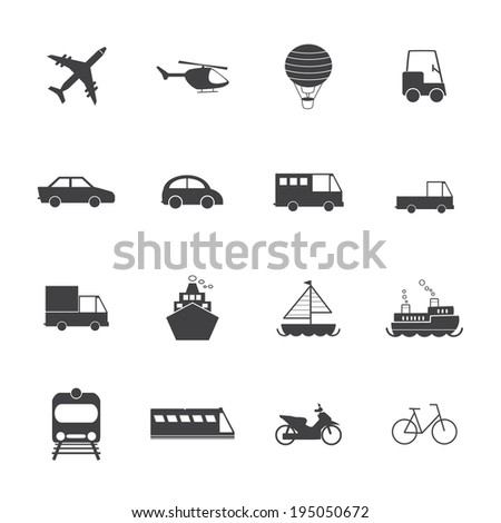 Vehicle and transport icons  - stock vector