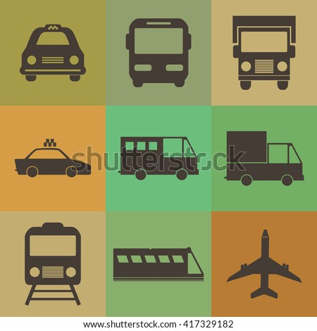 Vehicle and transport icons set.Retro color style. - stock vector