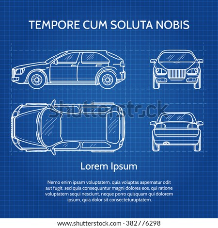 Vehicle drawing blueprint image car vector vector de stock382776298 vehicle drawing or blueprint image car vector illustration malvernweather Images