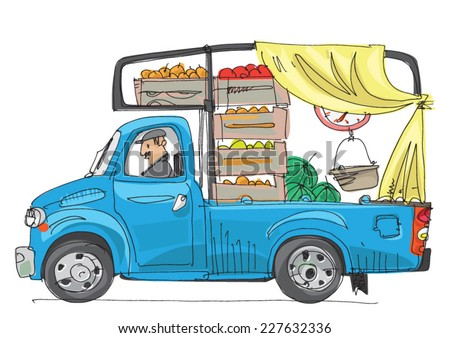 vehicle full of fruits and vegetables - cartoon - stock vector