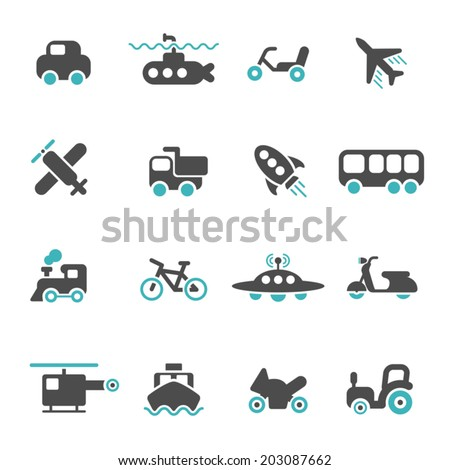 Vehicle icons set - stock vector