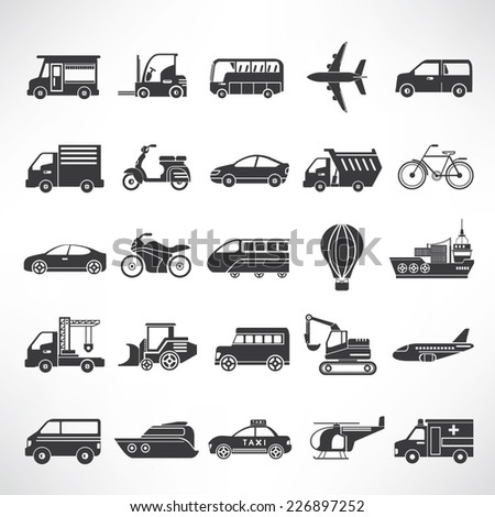 vehicle icons set, car icons - stock vector
