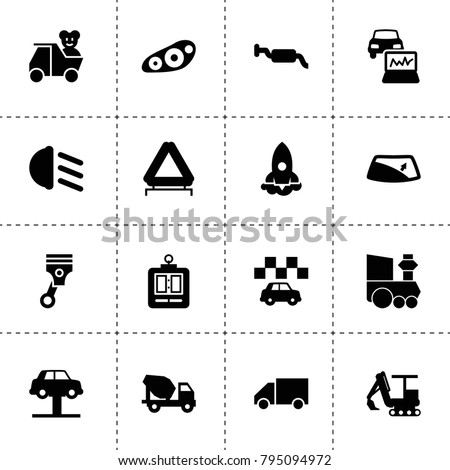 Vehicle Icons Vector Collection Filled Vehicle Stock Vector