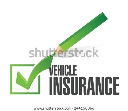 vehicle insurance pencil check mark illustration design over a white background - stock vector