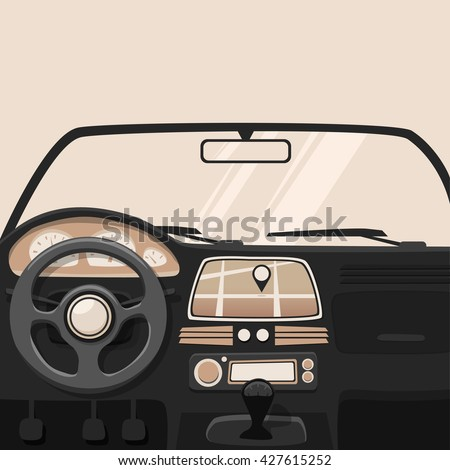 Vehicle interior. Inside car. Vector cartoon illustration - stock vector
