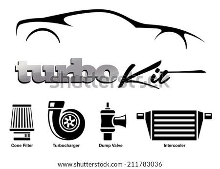 Vehicle Modification Turbo Kit - stock vector