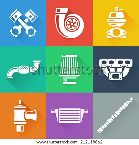 Vehicle Performance Parts Flat Icons Set - stock vector
