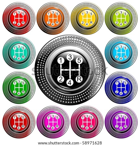 Vehicle's gear color collection on white background vector eps10 - stock vector